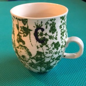 Anthro monogram c cup, green flowers blue c